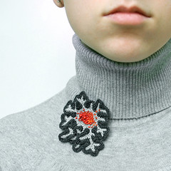 grey coral brooch (ulaniulani) Tags: grey brooch crochet etsy fiberart fiber beaded redbeads