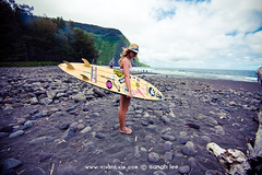 down in the valley (SARA LEE) Tags: ocean girl landscape blacksand hawaii model surf surfer wideangle cameron valley surfboard fedora bigisland camerons waipio honokaa sarahlee legothenego vivantvie