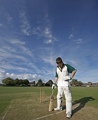 Cricket - The loneliness of the middle order batsman (s0ulsurfing) Tags: uk blue trees shadow portrait england sky cloud sunlight game green sports weather sport tom clouds pose island skies bright britain patterns bat wide perspective july fluffy wideangle cricket vectis isleofwight pitch lonely sporting isle 2009 nube stumps sportsman wight lonliness meteorology cirrus pads batter nephology wicket cricketers 10mm batsman hendy sigma1020 batsmen s0ulsurfing vertorama westwightcc middleorder welcomeuk