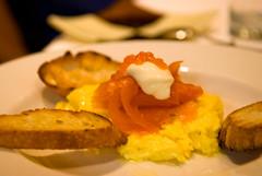 Soft-scrambled eggs, smoked salmon, creme fraiche, caviar (elaine780) Tags: nikon d80 nikon1755mmf28