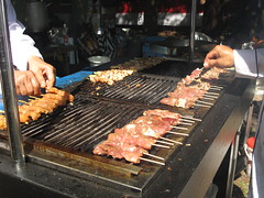 Satés on the grill