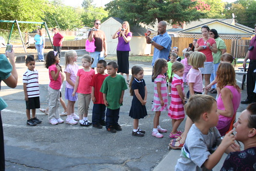 Lining up to meet Ms. Susan on her first day of Montessori Kindergarten