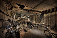 Rent a Bike anyone? It's Pulau Ubin... (williamcho) Tags: old heritage photoshop effects singapore decay garage bicycles workshop di hdr posteredges digitalmanipulation blending offshoreisland