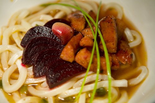 Sausage Miso Udon with Garlic Roasted Beets