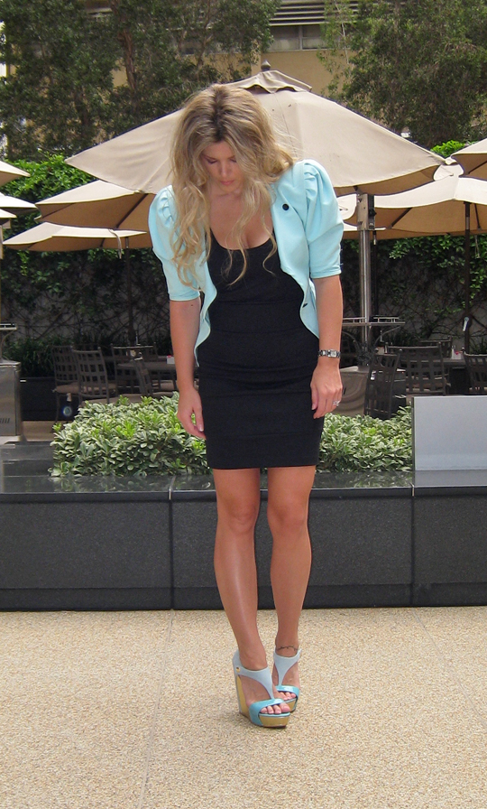 tan, black dress with pastel jacket and shoes, mint-ungaro-blazer-3