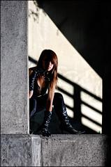 The urban ninja within - Day 6/365 (Von Wong) Tags: bridge light sunlight black girl concrete shadows boots ninja posed surreal chick gloves hero superhero latex harsh parabolic crouched vonwong ninjaurban 86parabolic
