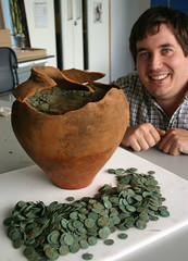 Peter Reavill with the coin hoard