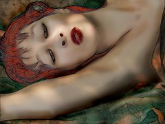 Lying in the leaves of this summer (vinciane.c) Tags: beauty women drawing calm artnouveau photomontage luxury pleasure quietmoments belleépoque