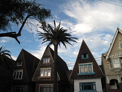 1000 Block of Shrader Street, SF (Anomalous_A) Tags: sanfrancisco roof cloud house building architecture shingles cluster bluesky palm palmtree colevalley residence sanfranciscoca steep upperhaight ashburyheights shrader steeproof
