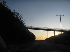 Man on bridge in London sunset