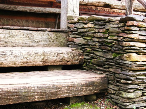 Steps Stone Wall Historic Building - Cades Cove