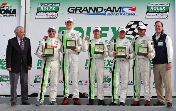 Long / Bergmeister with teammates at 2009 Rolex 24 At Daytona