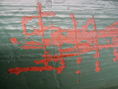 Red Scratches on Green Wall (shaire productions) Tags: city red urban abstract macro green art texture wall closeup photoshop bench photo image mark background letters arts free scratches surface photograph