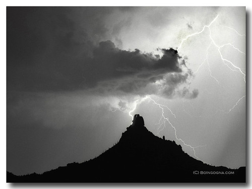 Lightning striking Pinnacle Peak
