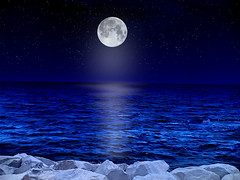 Black universe, blue world (Mouin.M) Tags: ocean blue sea sky moon water night stars scary rocks waves darkness space horizon dream calm creepy spooky ciel thoughts huge moonlight universe endless bluey mmlloo