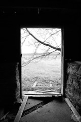 The Doorway (b&w) (Dark Scene Photography) Tags: door light blackandwhite ontario canada tree abandoned barn noiretblanc farm sony dslr a500 tyendinaga