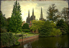 Lichfield Cathedral (Audrey A Jackson) Tags: trees lake texture grass wall clouds cathedral spires lawn staffordshire lichfield panasonicdmctz3 tatot ringexcellence