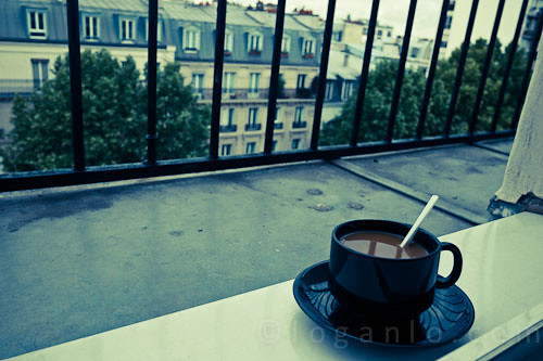 Cup of coffee overlooking Paris
