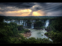 Just before the rain (Kaj Bjurman) Tags: sunset brazil green water rain yellow eos waterfall do jungle late iguazu hdr foz kaj photomatix 40d