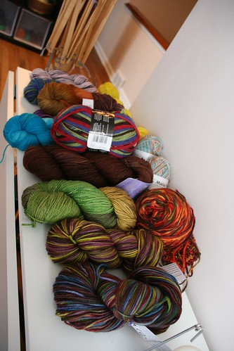 Every skein of sock yarn that I own