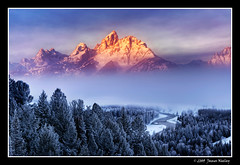 Rising Above the Fog (James Neeley) Tags: winter mountains fog sunrise landscape bravo grandtetons tetons hdr grandtetonnationalpark photomatix gtnp snakeriveroverlook 5xp mywinners jamesneeley