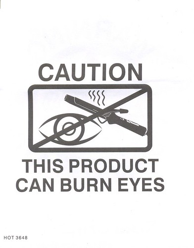 curling iron warning by you.
