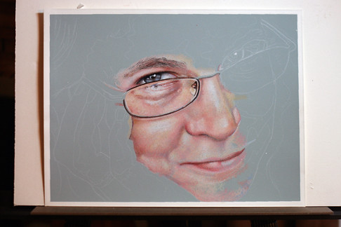 In progress colored pencil portrait of Rose Welty.