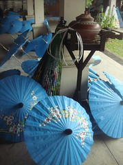 Unbrella Factory In Thailand (margaret mendel) Tags: blue thailand unbrellas paintedflowers unbrellafactory