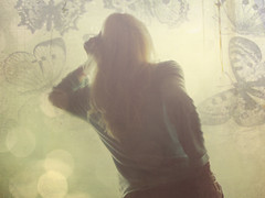 Heartbeat/Tainai Kaiki II (~bumblebee(mirella)~) Tags: portrait woman selfportrait me hair soft bokeh butterflies retro textures jeans layers mua mirella texturized heartbeattainaikaikiii sylviansakamoto