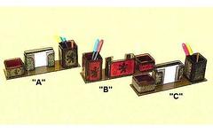 Porta-Caneta-Lembrete-Clips-Acrlico (ArtesanatoTH) Tags: couro acrilex portacanetas pirogravado