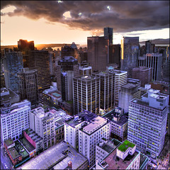 Vancouver Sunset Vertorama (ecstaticist) Tags: street city light sunset sky urban cloud west building texture window vertical architecture photoshop canon exposure downtown darkness bright granville horizon line western end balance seymour six hdr height brilliance photomatix g10 vertorama