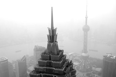 Shanghai views (marin.tomic) Tags: china city travel urban blackandwhite bw tower skyscraper asian nikon asia view shanghai chinese explore metropolis pudong height jinmaotower gettyimages orientalpearltower swfc d40 shanghaiworldfinancialcenter visipix