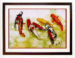 KOI 5292 Watercolor (sia.yekchung ) Tags: red fish black art water yellow painting three pond koi watercolors      theunforgettablepictures colourartaward