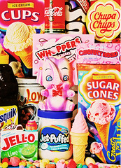 Trunkfood (Revisited) (boopsie.daisy) Tags: pink food elephant color ice colors tooth yummy colorful purple candy cola sweet cream coke sugar smarties trunk packaging junkfood jello coca cones chupachups fruitloops whoppers nestlequick