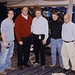 Chris Berman in town for his annual Pats playoff interviews.  L to R – Aaron, Berman, Dean, Mal, Martin Khodabakhshian - January 16, 2003
