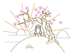 Stitch-Penguin-Color-Patter (artoo1121) Tags: pink brown sun black mountains tree penguin pattern embroidery peaceful monk cherryblossom meditation embroiderypattern