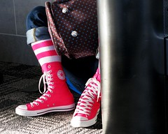 Pink Traveling Shoes (Don3rdSE) Tags: pink portrait color girl mi march athletic airport shoes niceshot michigan detroit terminal sneakers jeans converse hightops chucks traveler converseallstars pinksocks tennies blueribbonwinner sneekers detroitmetropolitanwaynecountyairport abigfave aplusphoto theunforgettablepictures colourartaward platinumheartaward theperfectphotographer canong9 goldstaraward don3rdse nsg2