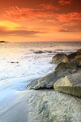 Wave and rocks 1 (Zhariff) Tags: sunset beach rock canon landscape photography wave kelantan cokin wavebreaker