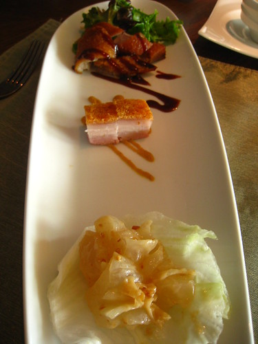 Trio of Appetizers: Crispy Duck, Roast Pork Belly & Jellyfish in Cream Sauce