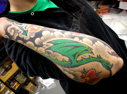 Molly's Dragon in Clouds Tattoo