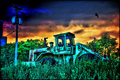 tractor storm (Dan Anderson (dead camera, RIP)) Tags: blue red orange tractor storm color rain yellow clouds front end twincities loader hdr dananderson hdraward hdrcreativeshots