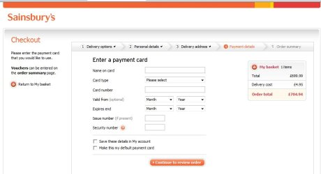 Sainsbury's checkout process