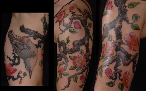 Mostly freehand nuthatch and cherry blossom tattoo. by Independent Tattoo