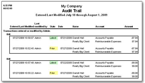QuickBooks Audit-Trail