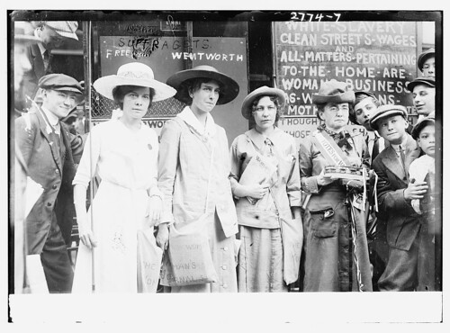 Suffragettes, 3/4 length, in street (LOC)