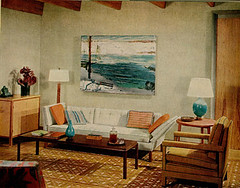 Blue + brown 1960s living room: Warm + cool tones + George Bellows painting (SarahKaron) Tags: blue orange brown house inspiration home modern vintage design turquoise interior livingroom decorating 1960s decor midcenturymodern midcentury housebeautiful georgebellows brownandblue blueandbrown