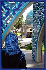 MY FIRST PIC WITH MY FIRST GOOD FRIENDS ( _ FARHAD) Tags: blue girl tile alone iran blu august gathering  maryam farhad khorasan tilework  attar   neyshaboor   maary  neyshabur  abigfave        neishaboor
