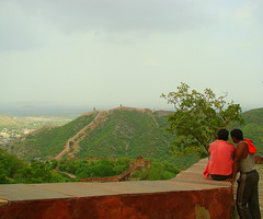 Enjoying the view! (:-Punya) Tags: sky mountains clouds locals jaipur jaigarhfort