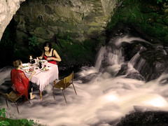 Dining in the water - Stolovnice ve vode (eweliyi) Tags: bridge girls art nature water dinner creek table sitting performance explore tabor dining cesta artinstalation