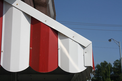 red and white awning